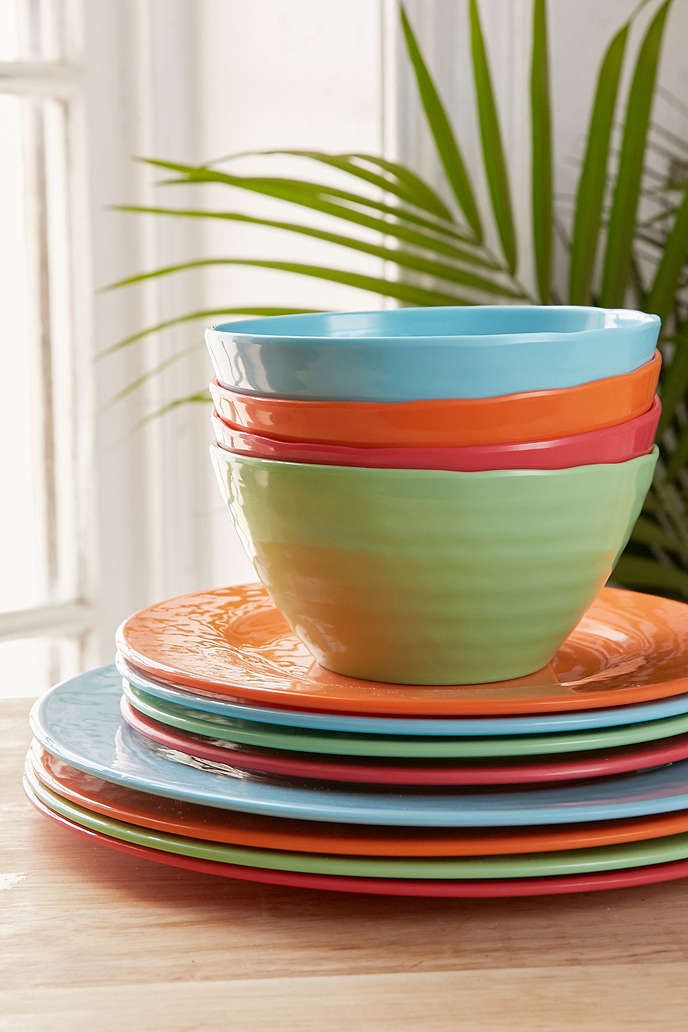 12-Piece Bright Solids Melamine Dinnerware Set - Urban Outfitters & 12-Piece Bright Solids Melamine Dinnerware Set | Melamine dinnerware ...