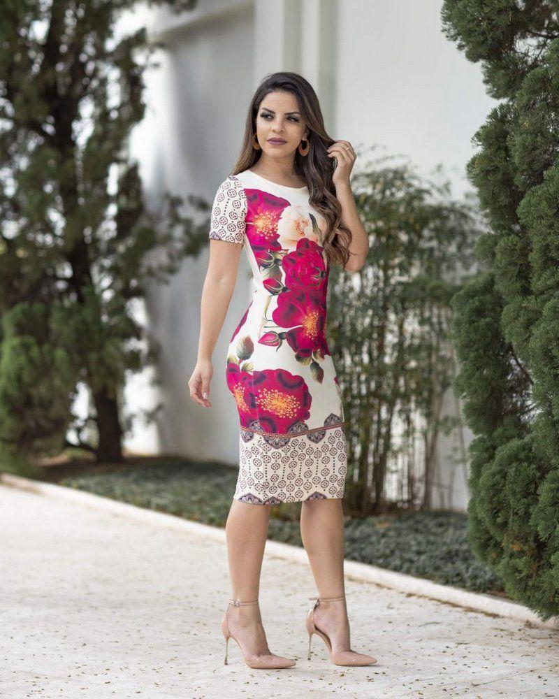 0ff6ac2e8a Vestido Tubinho Joana Floral Moda Evangélica - Moda Evangélica - Flor de  Amêndoa Garde Robe