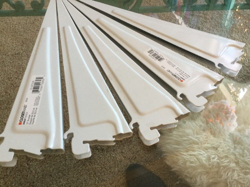 White Closetmaid Shelf Bracket 2853 Set Of 5 Shelftrack 12 Inch Locking Ebay Closetmaid Shelf Brackets Shelves