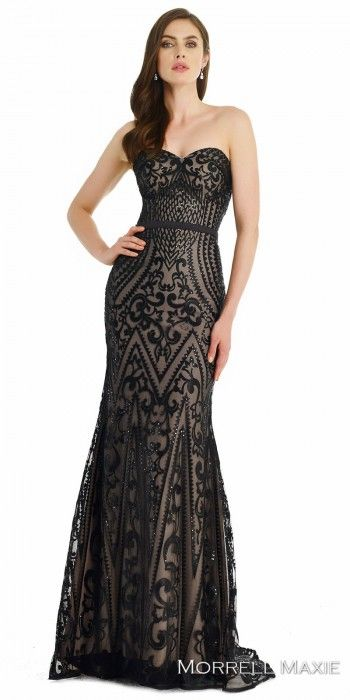 Embroidered Sequin Sweetheart Evening Dress by Morrell Maxie #edressme