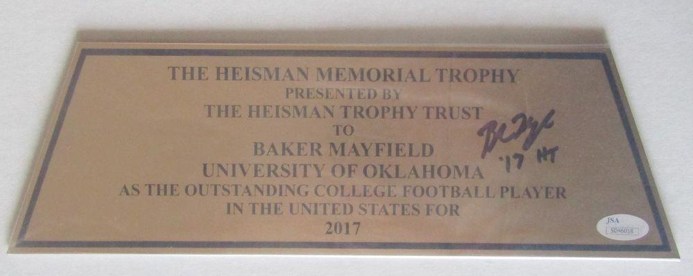 Baker Mayfield 2017 Heisman Memorial Trophy Plaque Signed COA ... aba3f3c72