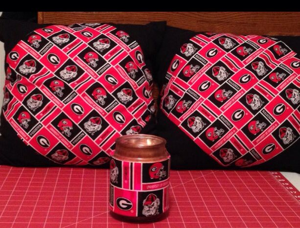 Georgia Bulldog pillows & candle cover.