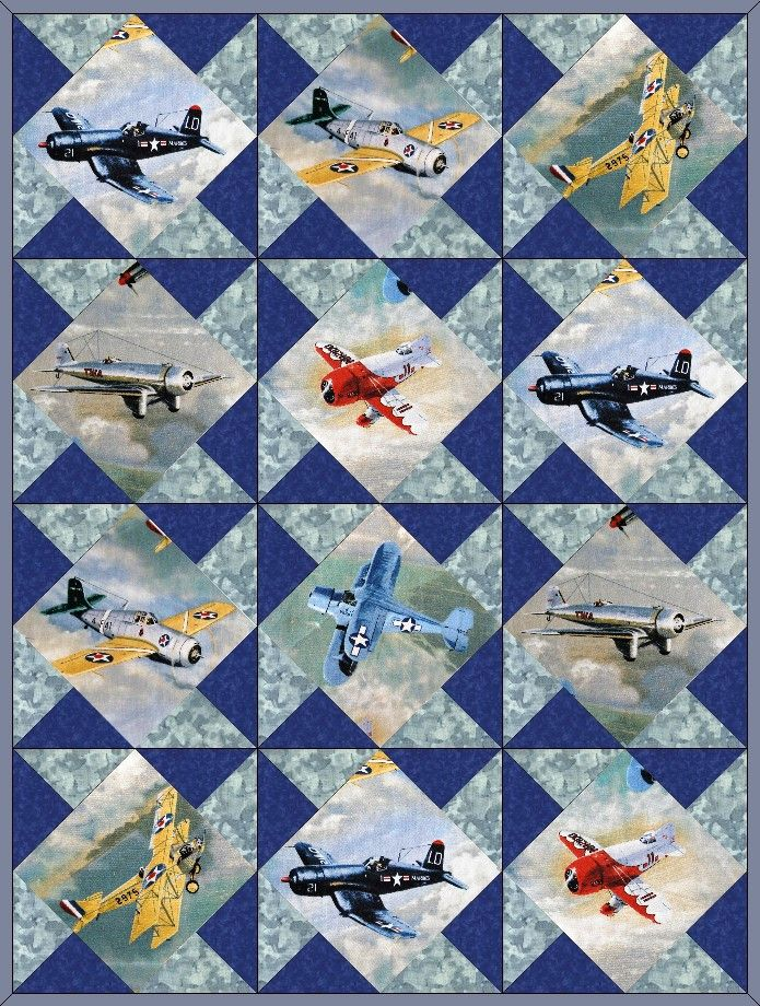 Airplanes Vintage Fighter Planes 12 Pre-Cut Quilt Kit 8  Blocks ... : precut quilt kit - Adamdwight.com