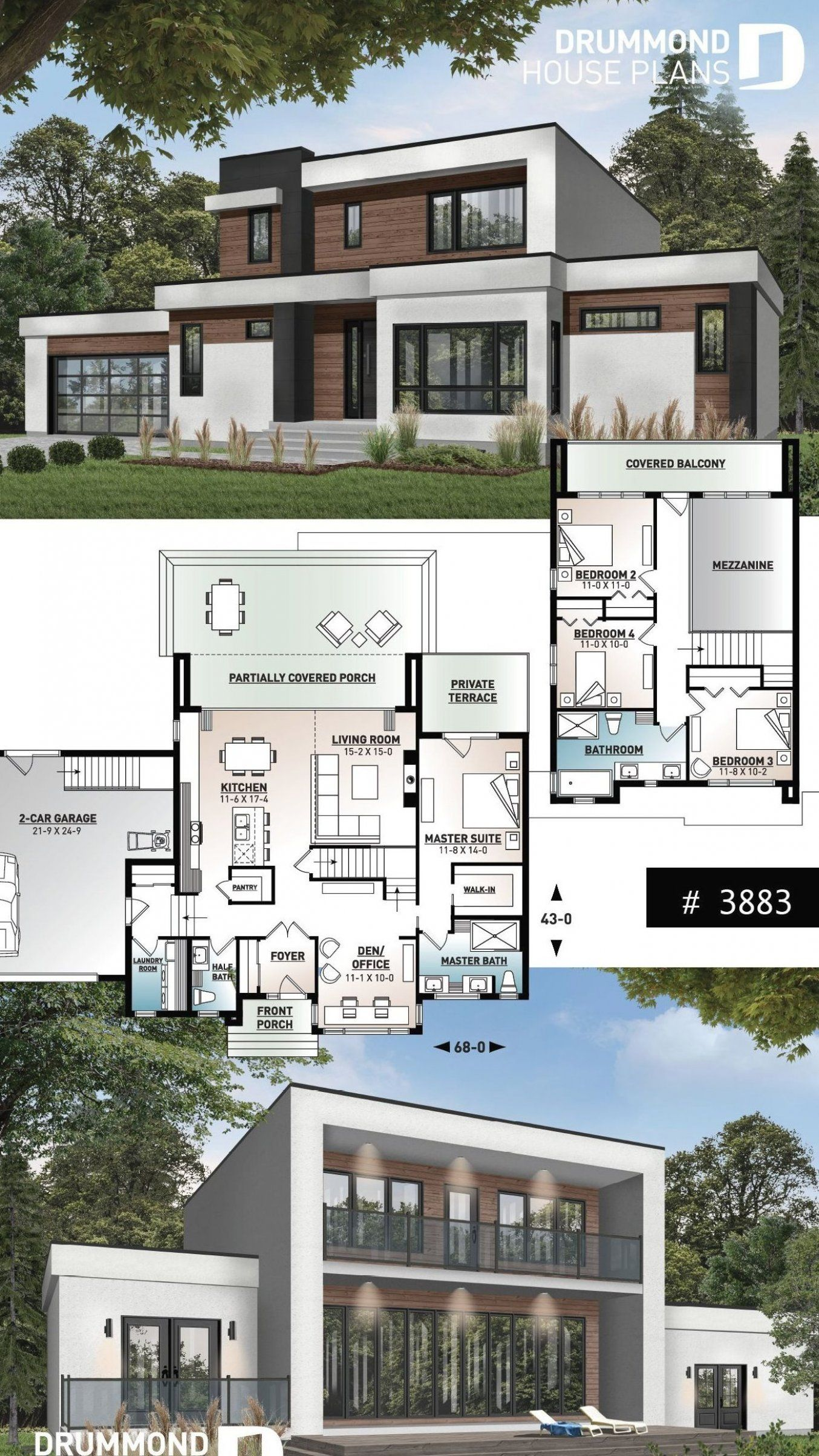 Modern Cube Shaped House Plan Master Suite 4 Bedrooms Open Floor Plan Home Office 2 Car Garage Pa Sims House Plans House Blueprints Craftsman House Plans