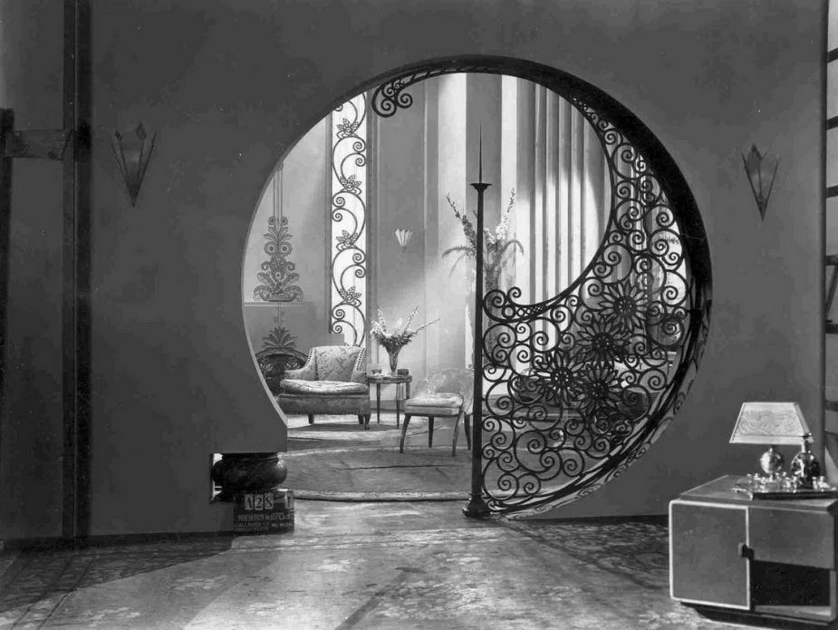 Interior gray art deco home interior artistic circle