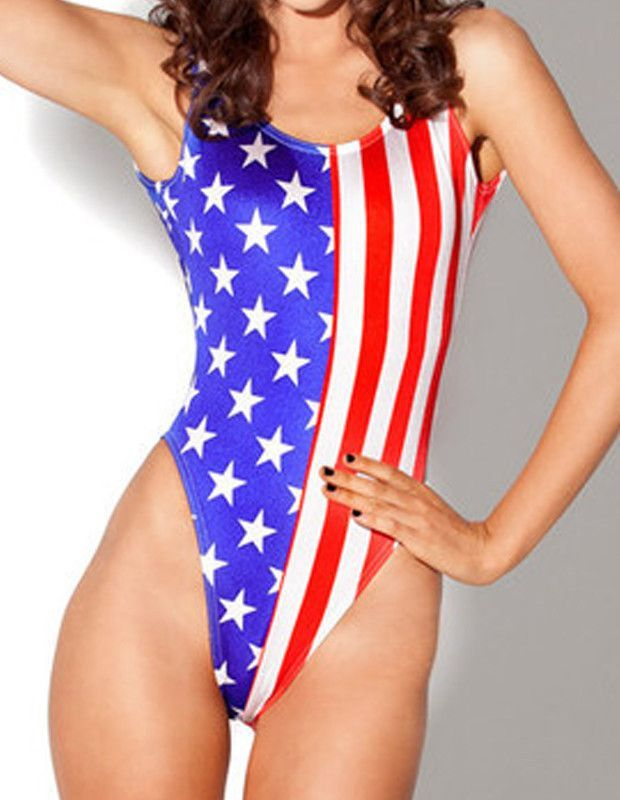 American Flag Print Womens One Piece Swimsuit Cheap Swimwear