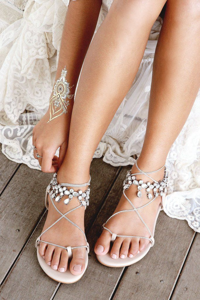 241e0d572d593 New Leather Flats by Forever Soles. Silver chain ties, flat ...