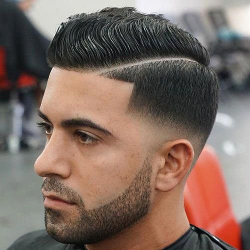 Wavy Comb Over Hard Part Low Bald Fade Beard Menshairstyles