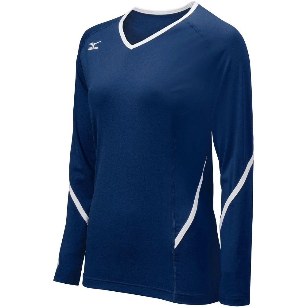 Mizuno Youth Girl S Techno Generation Long Sleeve Jersey Girls Size Medium In Color Navy White 510 White Long Sleeve Top Volleyball Jerseys Volleyball Outfits