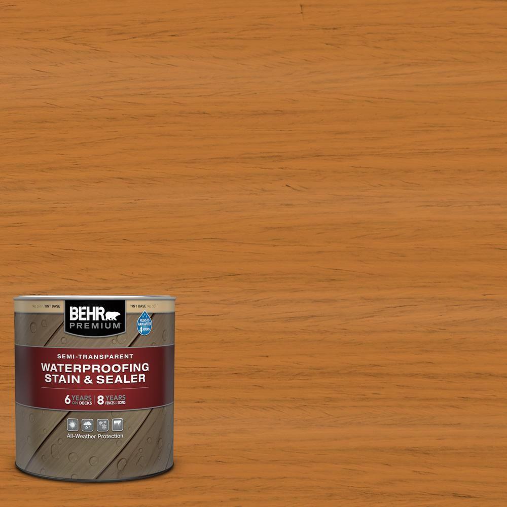 Behr Premium 1 Qt St 140 Bright Tamra Semi Transparent Waterproofing Exterior Wood Stain And Sealer 507704 Exterior Wood Stain Wood Deck Stain Semi Transparent