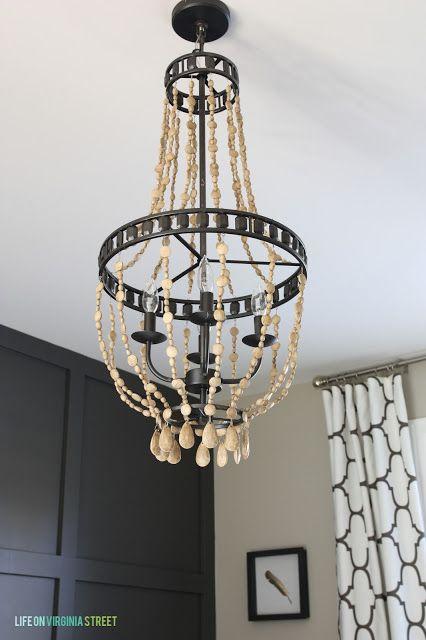 lampara con beads de madera