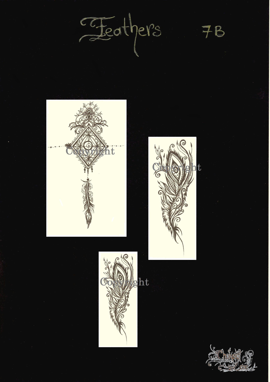 Feathers 7b henna jagua tattoo stencils on vegan