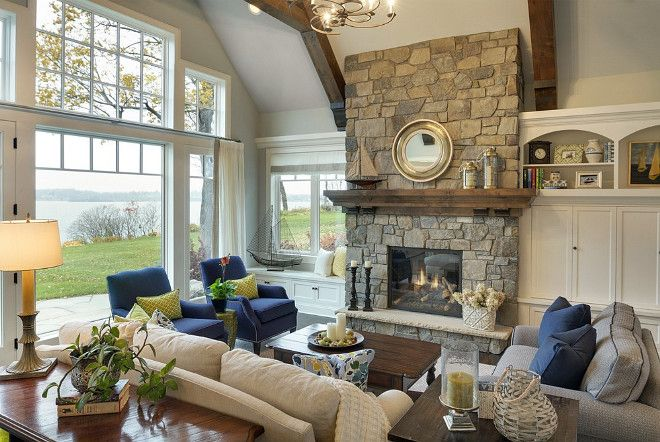 Inspiring Lake House Interiors I Like The Fireplace And The Furniture Arrangement Lake House Interior Livingroom Layout Home Living Room