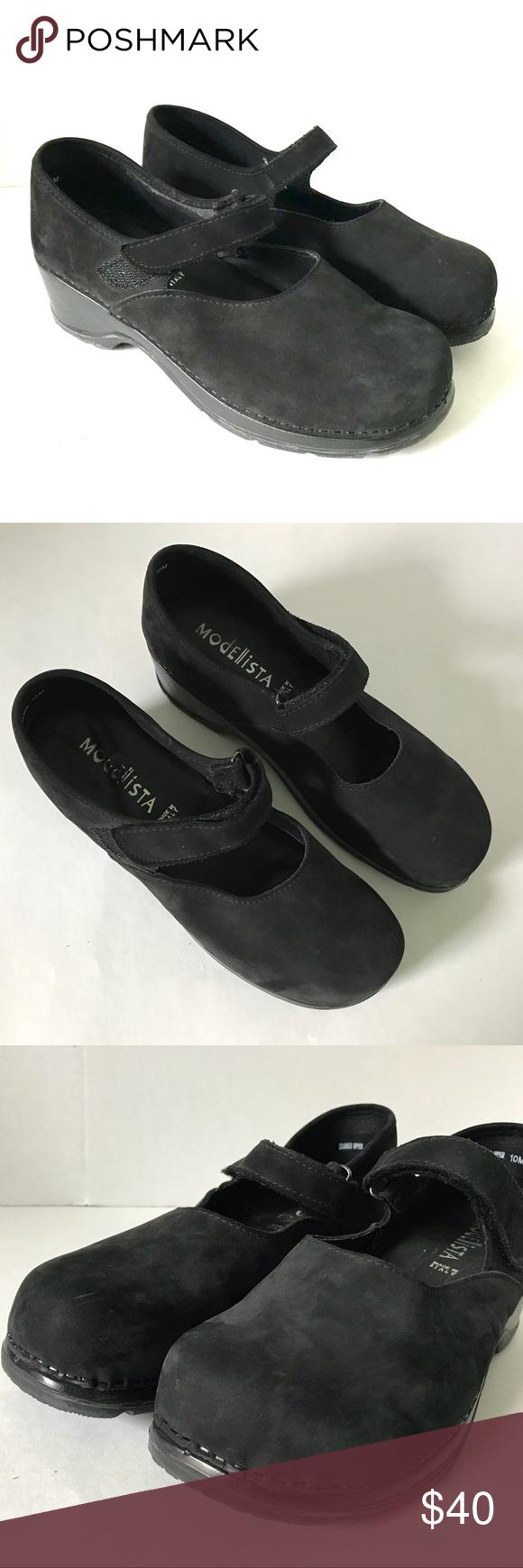 8279262313cf Modellista Black suede Mary Jane clogs 10 Euc Modellista Shoes Mules   Clogs