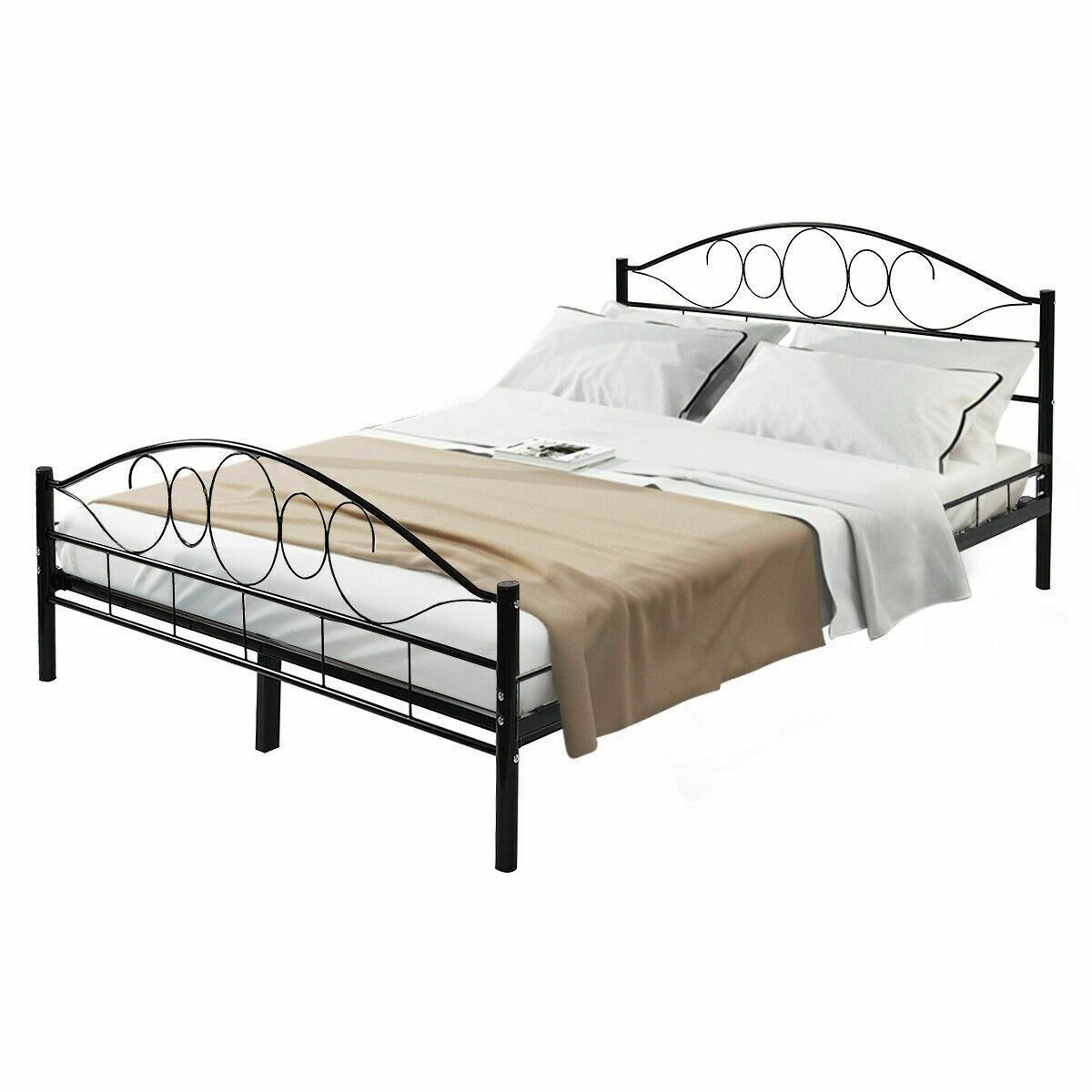 Queen Size Wood Slats Platform Headboard Footboard Metal Bed Frame