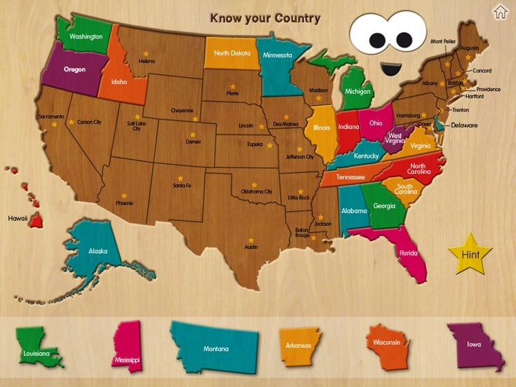 Wood Puzzle USA Map Kids usa Social studies and Geography