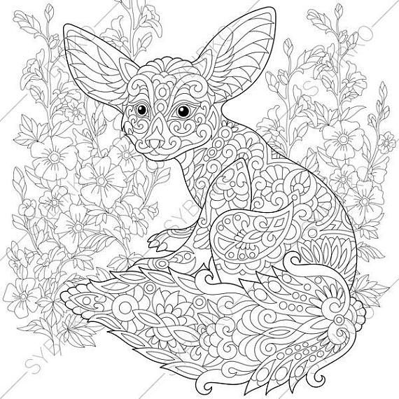 Adult Coloring Pages. Fennec Fox. Zentangle Doodle Coloring ...