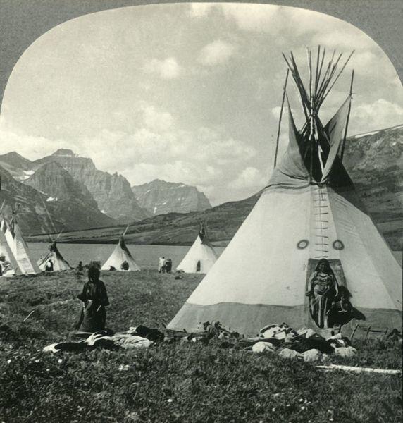 Photo of Print of In the Village of Blackfeet Indians near St. Marys Lake, Glacier National Park, Montana, c1930s