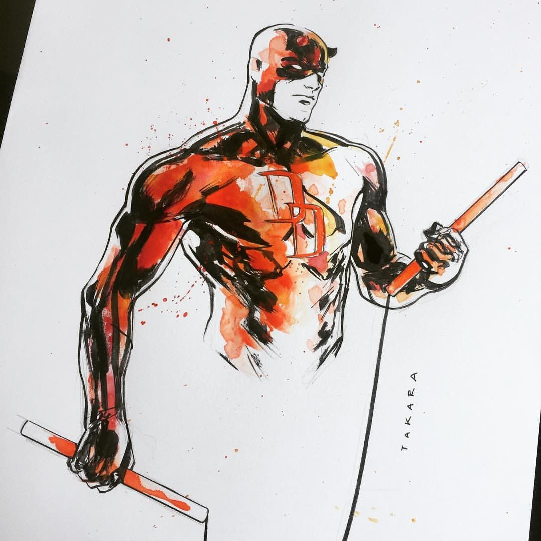 """mtakara: """"sketch for Heroes Con. trying some colors. hope the client doesn't mind. for sketch list info: mtakara7@gmail.com """" Marvel - Daredevil"""