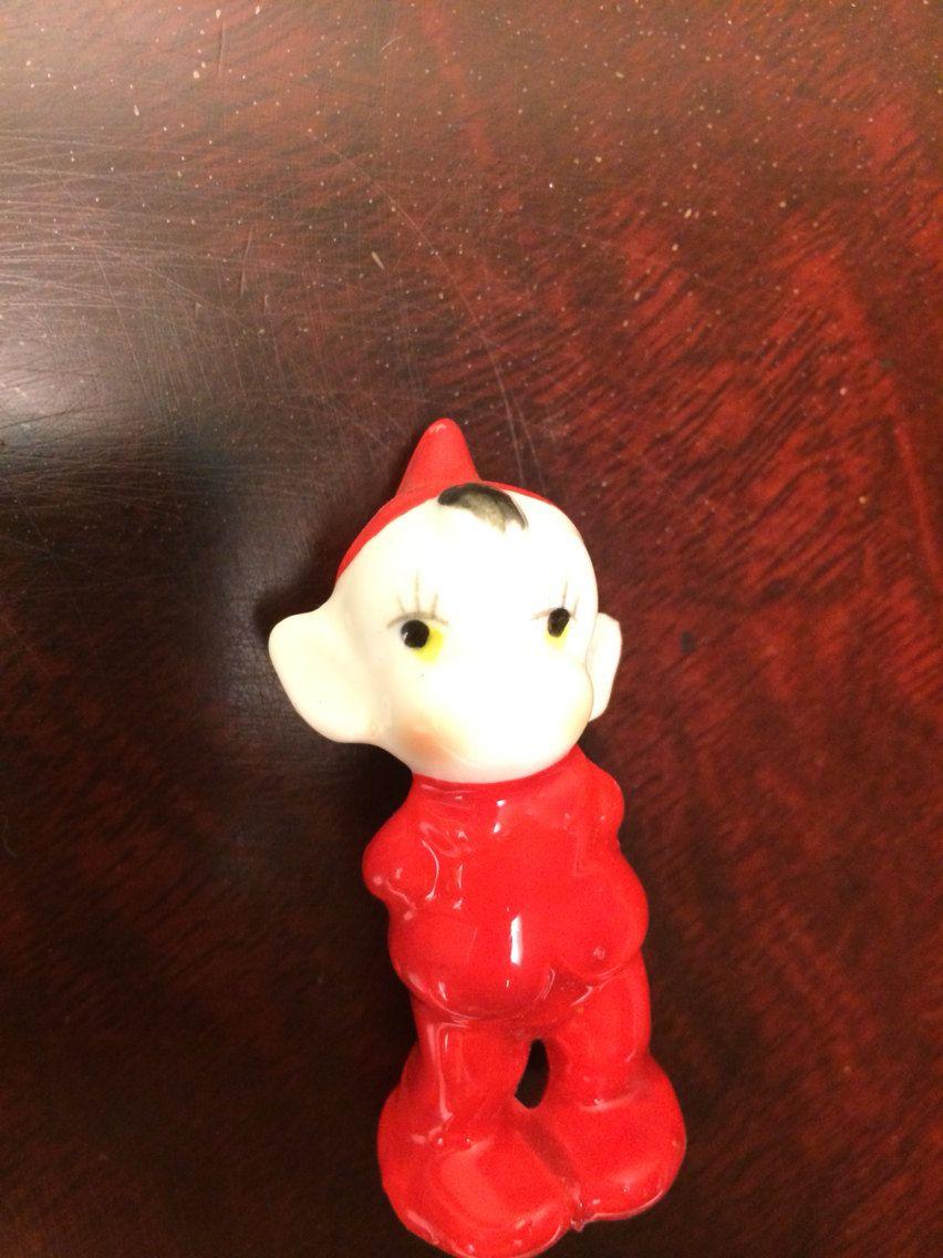 Vintage Holiday Pixie Elf  Figurine In Red Suit by VintageLove50 on Etsy