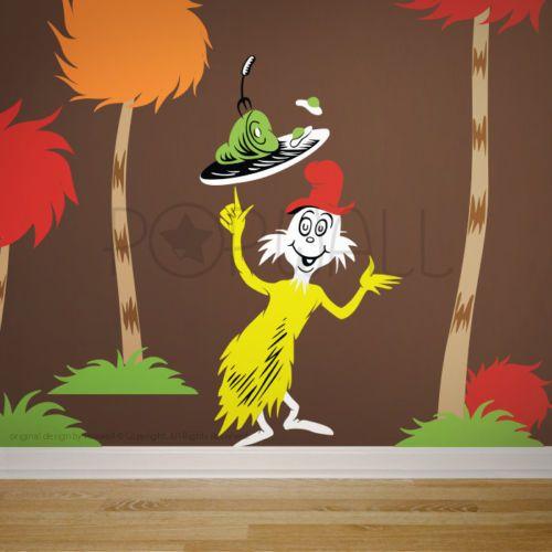 Hop on Pop Children Wall Decals Wall Sticker Dr Seuss Characters cat Lorax