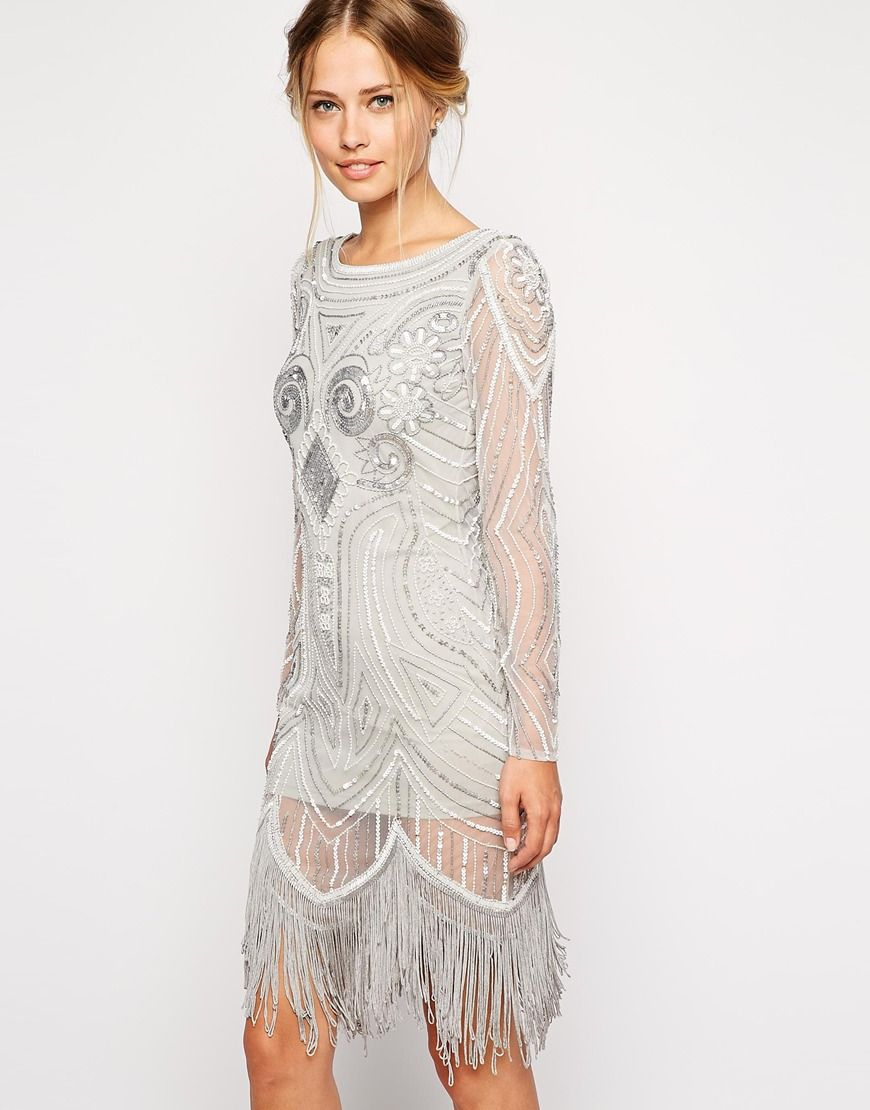 Image 1 of Frock and Frill All Over Embellished Dress With Tassel ...