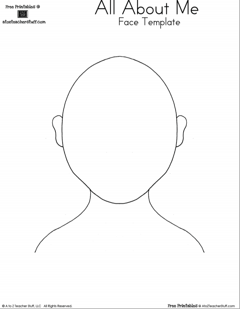 free all about me printable face template - Printable Drawing Pictures