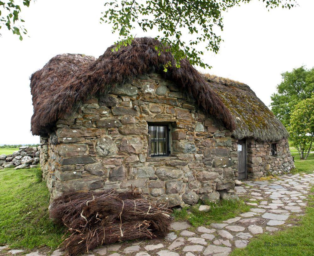 Leanach Cottage thatch and path Scotland, Cottage, Stone