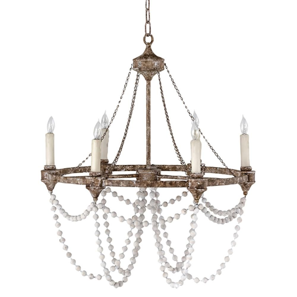 Auvergne french country rustic iron white bead chandelier rustic auvergne french country rustic iron white bead chandelier arubaitofo Image collections