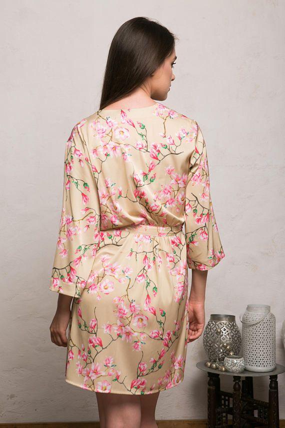 5bd5a166c6 Satin Robe, Floral Bridesmaid Robes, Gold Satin Kimono, Getting Ready Robe,  Blue