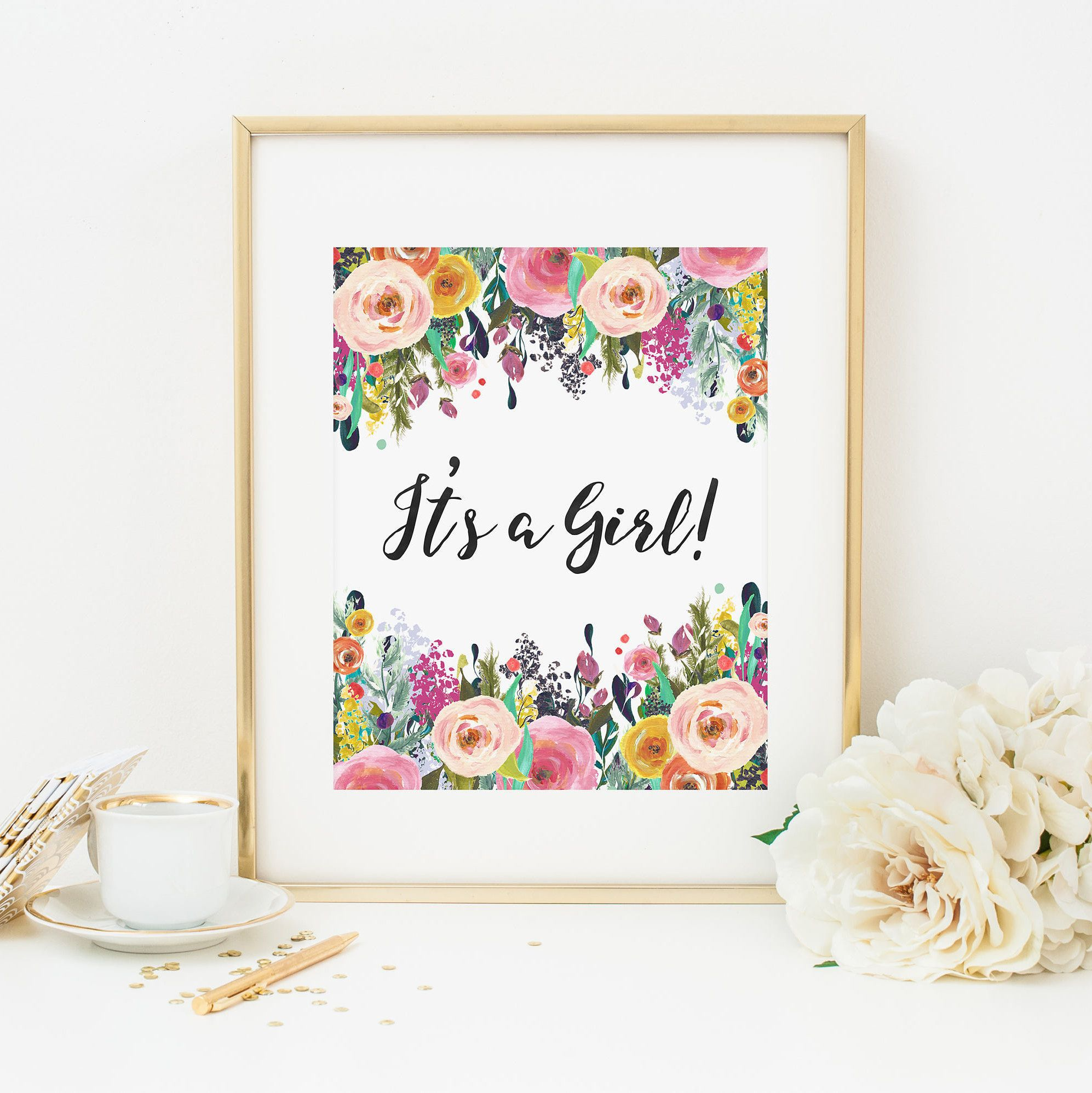It s a Girl Printable Bohemian Floral Baby Shower Sign Boho Floral