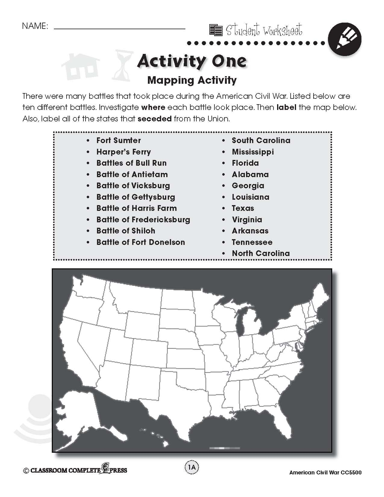 Label A Map Of The United States With The Battles That