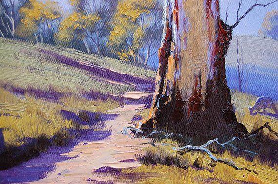 GUM TREES PAINTING Australian artwork kangaroo Trees