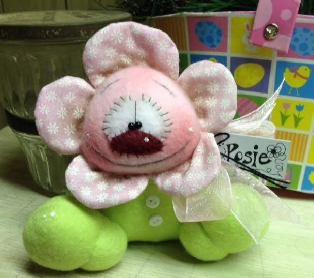 Primitive Raggedy HC Easter Spring Pink Posie Flower Doll Bunny Shelf Sitter 5in #IsntThatCute #SpringEaster