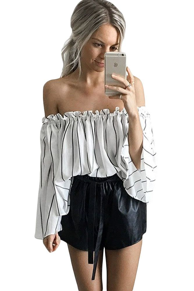 efc92d85f81a9f Click to Buy    2016 New Summer Women s Sexy White Black Stripes Print  Ruffled Off Shoulder Bell Sleeve Top LGY25907  Affiliate