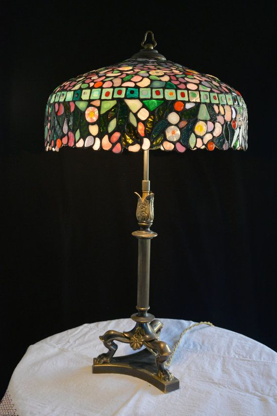 Lampe Tiffany De Verre De Vitraux Lampe De Table Abat Jour Etsy Lamp Bedside Lamp Tiffany Lamps