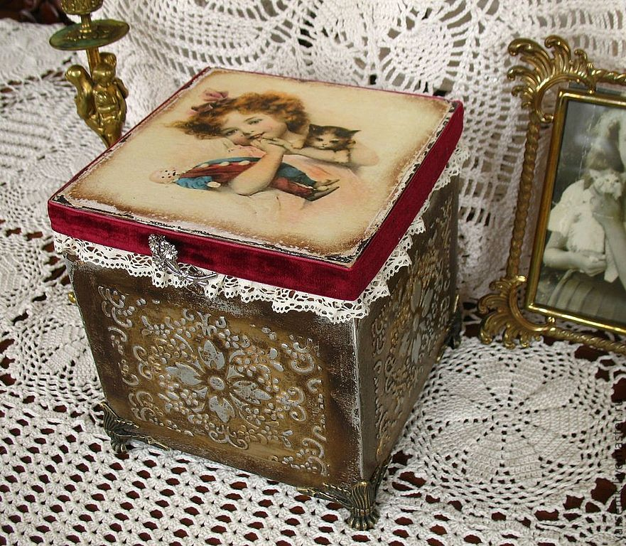 Купить Шкатулка Mon amour... - шкатулка для украшений, винтажный стиль, серебро, старинный стиль, старина