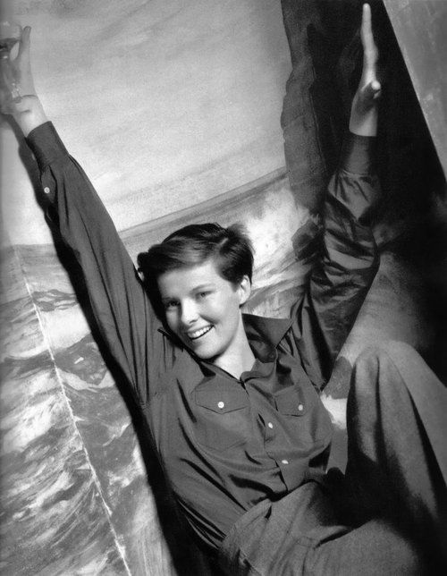 Katharine Hepburn, 1936, with her hair cut short for Sylvia Scarlett. She gives no fucks. Once wrestled a camera out of a photographer's hands who hadn't asked permission.