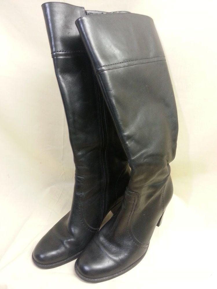 "Black Leather Knee High Boots  Size 6.5 M   Zipper 3"" Heel Amanda Smith #AmandaSmith #FashionKneeHigh #Casual"