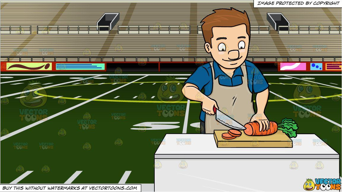 clipart cartoon a man chopping carrots and empty football stadium background vendor vectortoon type clipart pric football stadiums stadium stadium seats pinterest