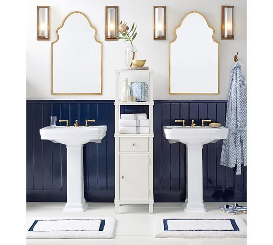 Stella Scrolled Edge Fixed Mirror Pedestal Sink Bathroom