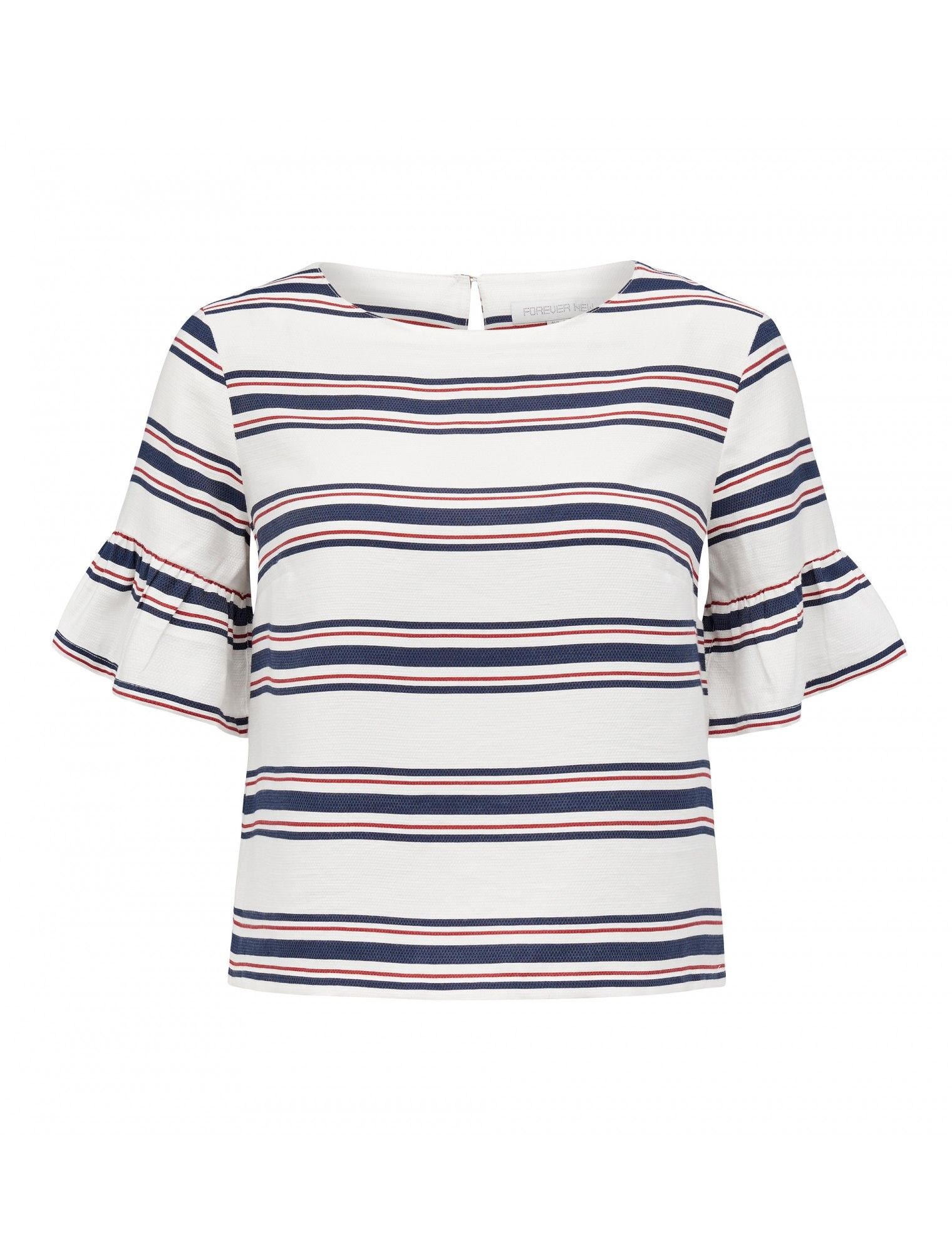 Maddie Stripe Fluted Sleeve Top | Forever New