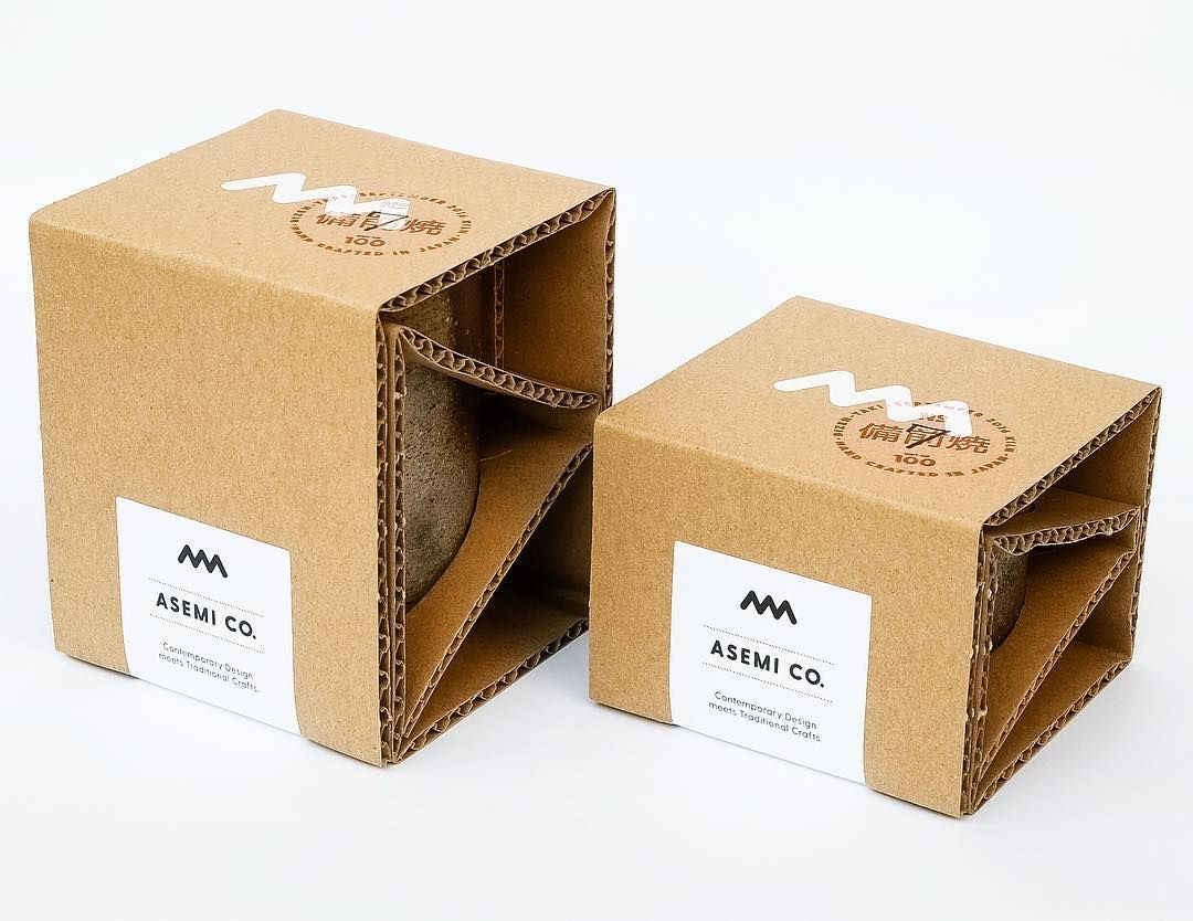 Our eco-friendly Asemi Artisan packaging! A single folded sheet of cardboard keeps our precious artisan cups safe. #artisan #handmade #pottery #ceramics #stoneware  #interiordesign #teacup #bizen #bizenyaki #okayama  #handcrafted #packaging #packagingdesign #graphicdesign #伝統工芸 #工芸 #職人 #陶芸 #食器 #デザイン #湯のみ #前焼 #前  #岡山 #スタートアップ #備前焼 #madeinjapan #sake #tea #coffee