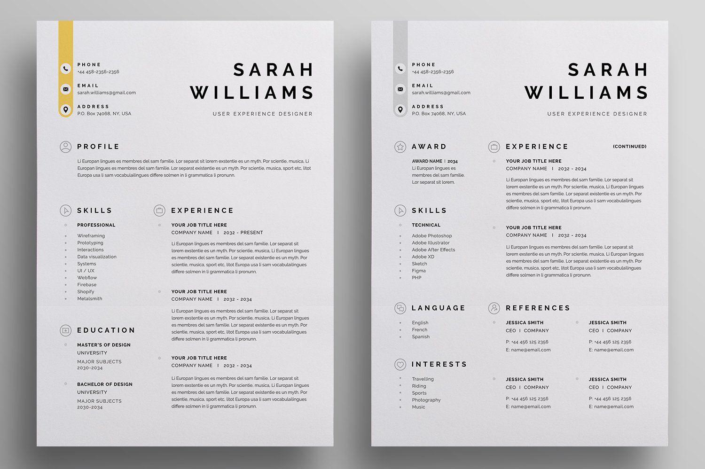 Resume Cv Unique Resume Template Resume Cv Resume Design Professional