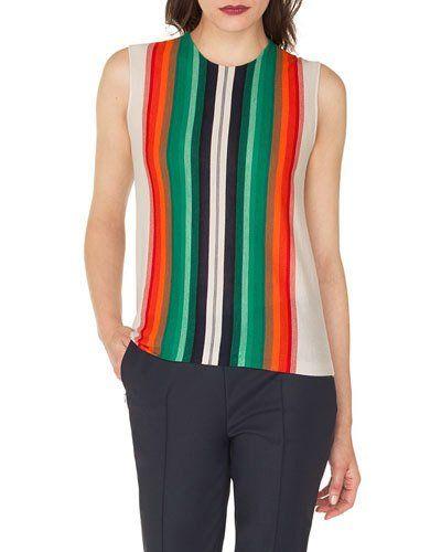 f48ff83889 Akris Sleeveless Crewneck Striped Cashmere-Silk Pullover Shell ...