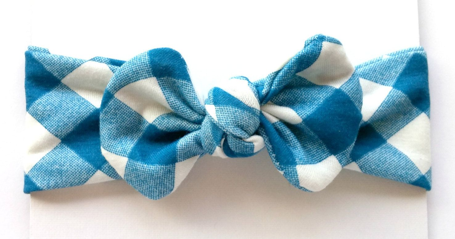 Checkerboard teal and white top knot stretchy bowheadband