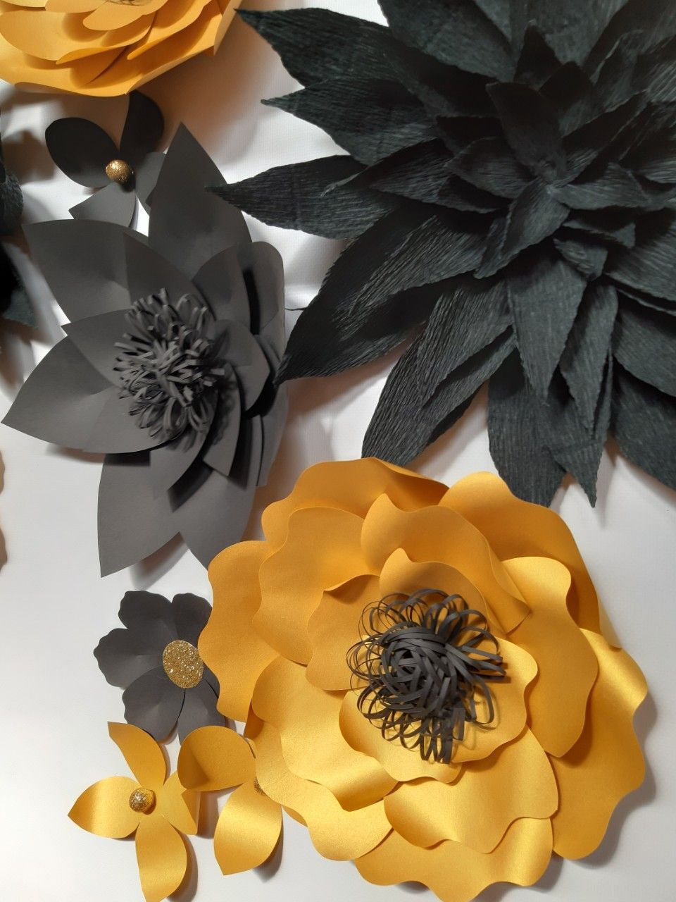 Gold Black Large Paper Flowers Set Nursery Wall Decor Floral