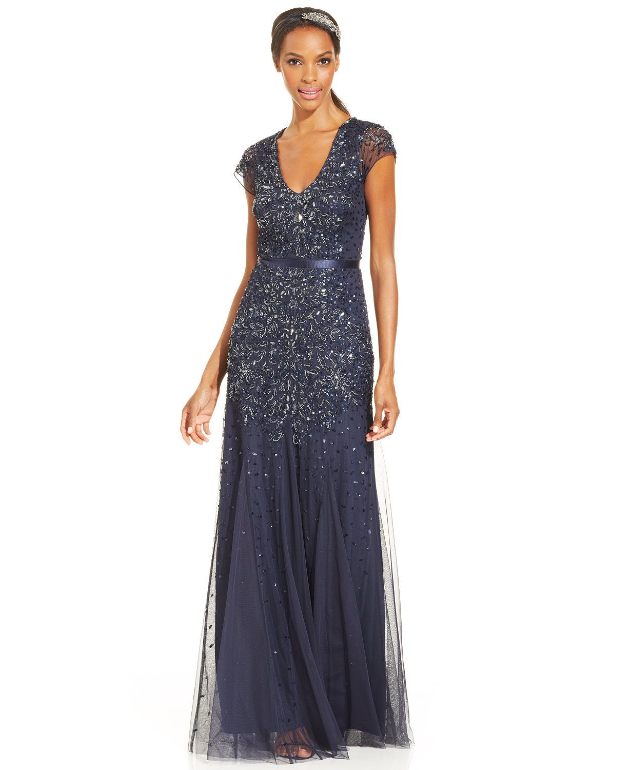 Adrianna Papell Cap-Sleeve Embellished Gown | macys.com | Mother ...