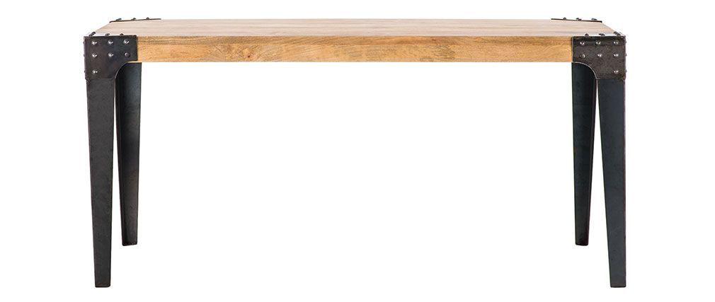 table manger industrielle madison acier et bois. Black Bedroom Furniture Sets. Home Design Ideas