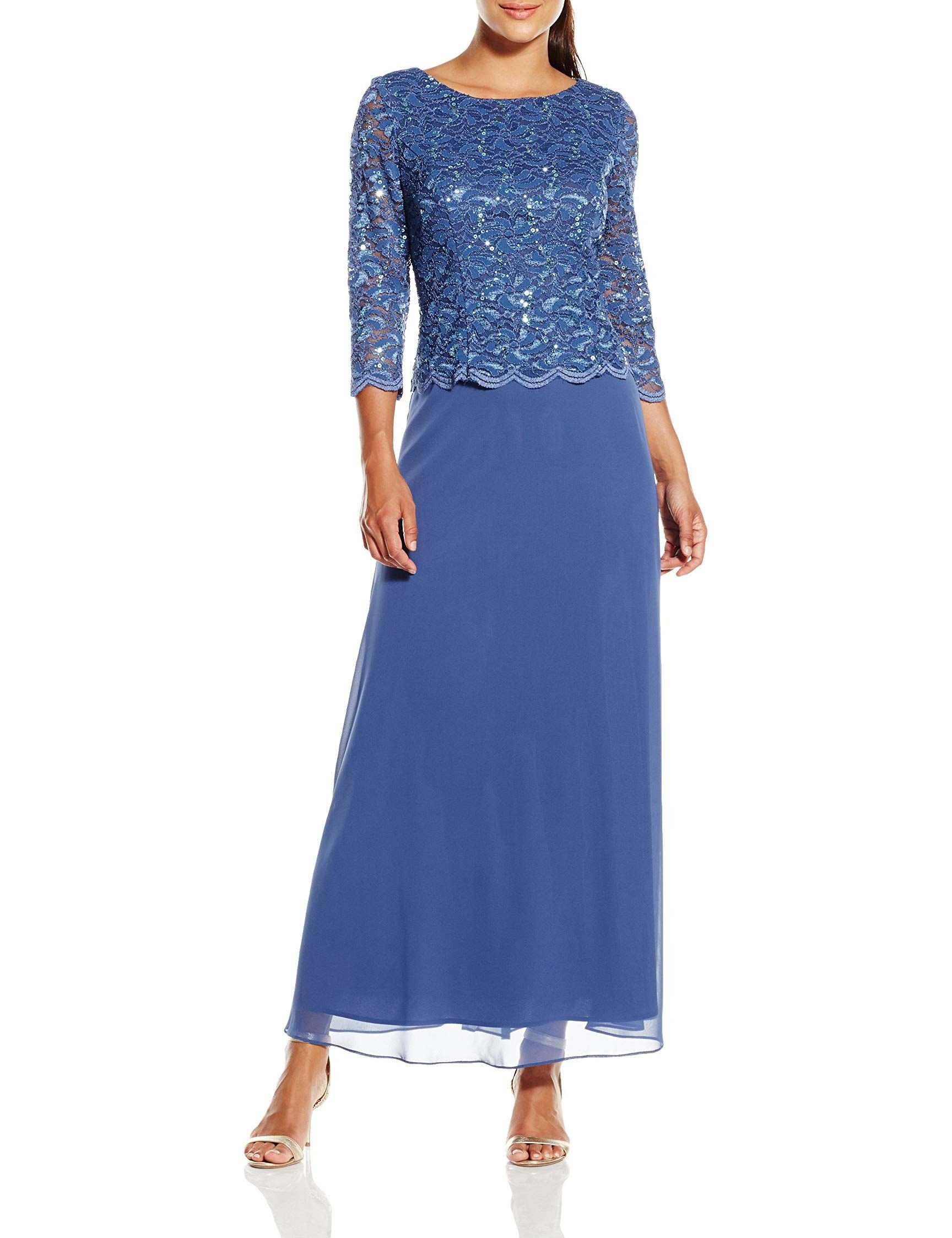 eefe7311c6 Alex Evenings Womens Long Mock Dress with Full Skirt Petite and Regular  Sizes Wedgewood 16